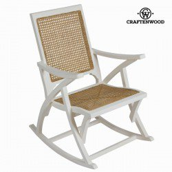 Chaise à bascule en rotin blanche by Craften Wood