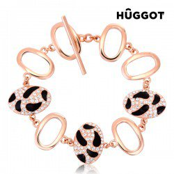 Bracelet Plaqué Or Rose 18 Carats et Zirconites Tiger Hûggot (Ø 18 cm)