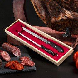 Couteau à Jambon et Aiguiseur avec Étui