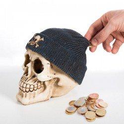 Tirelire Tête de Mort avec Bonnet de Pirate